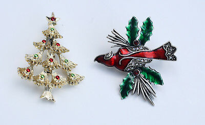 Vintage Pair of Holiday Christmas Winter Jewelry Pins Gerry's Tree & Enamel Bird