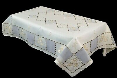 "54x72"" Beige Rectangle Polyester Fabric Embroidered Cutwork Tablecloth Napkins"