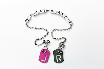 X-ray anatomical tablet markers, 8 colours with chain, initials and FREE post