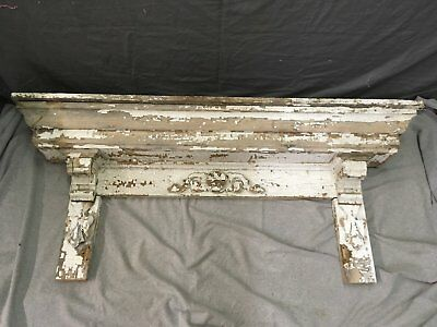 Antique Pediment Header Corbel Mantel Shelf Vtg Shabby Victorian Chic 774-17E