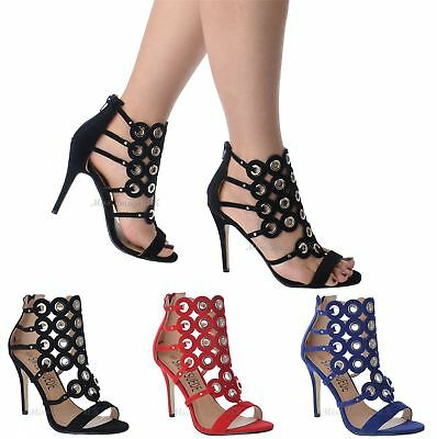Ladies Womens New Stiletto Heel Strappy Eyelet Open Toe Party Sandals Shoes Size