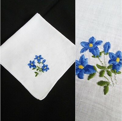 Original Vintage 30s-50s Hand Embroidered Gentian Flowers Handkerchief Hanky