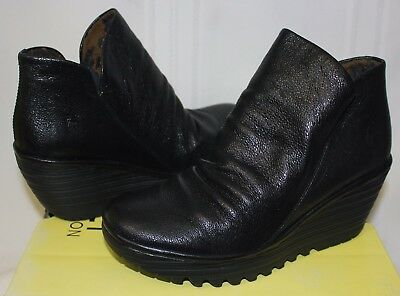 d846e3f9647 FLY LONDON YIP Black Mousse Leather Boots New With Box!