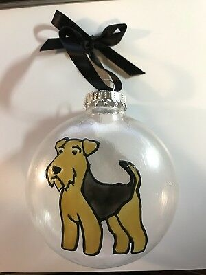 Airedale or Welsh Terrier Plastic Hand Painted Ornament Faux Stained Glass Style