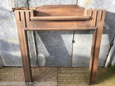 """Reclaimed Old 1930s Oak Fire Surround With Central Shelf 49"""" Wide"""