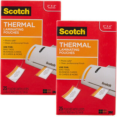 50 Scotch 3M Thermal Laminating Pouches Business Card Size Luggage Tag Laminates