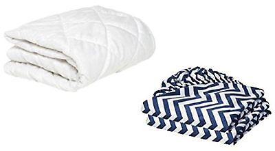 "BKB Cradle Mattress Protector and 2 Chevron Sheets Combo Navy 15 x 33"" 15 x 33"""