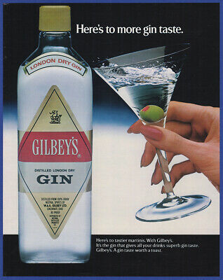 Vintage 1984 GILBEY'S Dry Gin Alcohol Liquor Restaurant Bar Decor Print Ad 80's