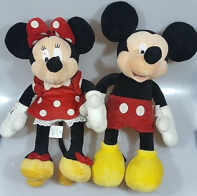 """lot 2 16"""" stuffed DISNEY STORE very soft plush MICKEY MOUSE MINNIE MOUSE doll P3"""