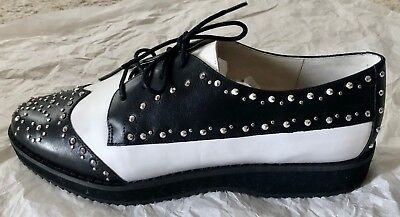 "NWT Michael Kors Black White Leather Sofie Studded Saddle Oxfords Shoes 1"" H 8.5"