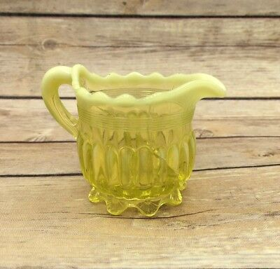 Vintage OPALESCENT VASELINE GLASS RIBBED CREAMER PITCHER AS IS