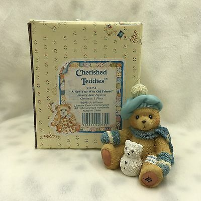 """1993 Enesco Cherished Teddies: January Bear """"A New Year with Old Friends"""" 914754"""