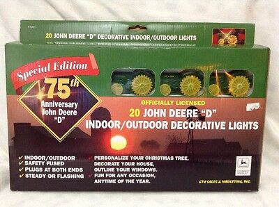 1990's John Deere D Tractor Christmas Patio Light String Set