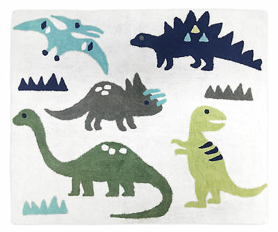 Baby Kids Floor Rug For Sweet Jojo Designs Blue & Green Mod Dinosaur Bedding Set
