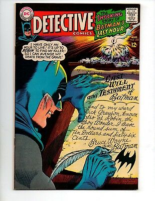 "Detective Comics #366 (Aug 1967, DC) VF+ 8.5 ""BATMAN'S LAST HOUR"""