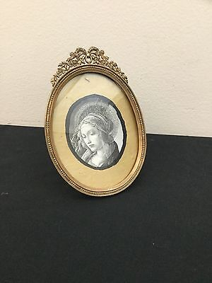 Antique French bronze oval picture frame