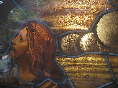 Antique Real Stained Glass Church Window - JESUS