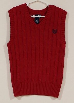 EUC Chaps Boys Dressy Red Cable Knit Holiday Sweater Vest Size Small 8