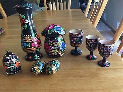 11 Piece Vintage Polish Carved Eggs, Vase, Bank, Cups - From Poland