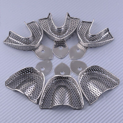 6 Pcs Upper Lower Dental Autoclavable Metal Impression Trays Stainless Steel