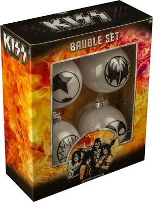 KISS - Christmas Bauble Set (4) by Ikon Collectables #NEW