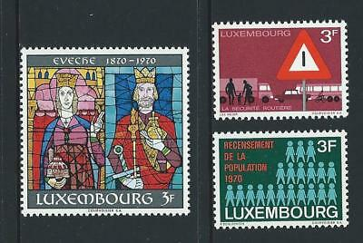 1970 LUXEMBOURG Traffic Safety, Diocese & Census Issues MNH (Scott 488,491-492)