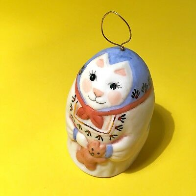 Vintage 1980 Salamander Pottery Signed Ceramic Bell Cat Kitty Christmas Ornament