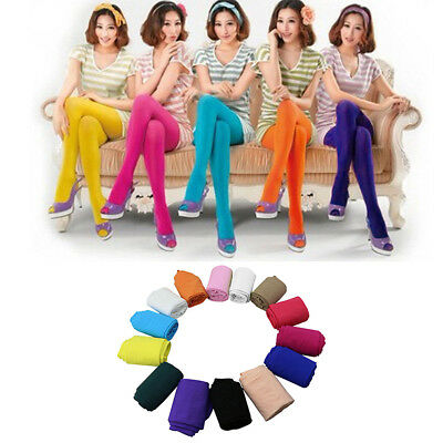 Women Candy Colors Opaque Footed Socks Tights Slim Pantyhose Stockings Eyeful
