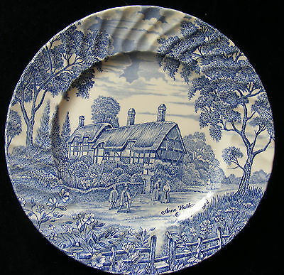 "Ridgway 9"" Blue and White Plate: Anne Hathaway Cottage - Please See Photos"