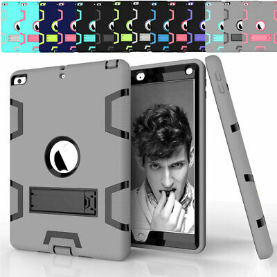 For iPad 9.7 2017 5th Gen A1822 A1823 Heavy Shockproof Rubber Stand Case Cover