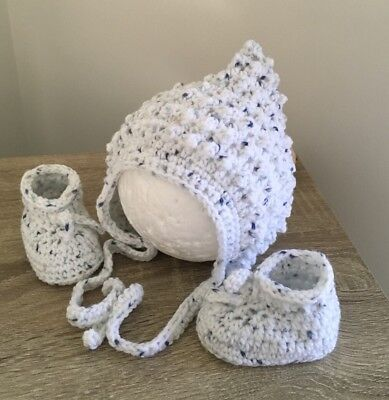 Baby Knitted / Crochet Pixie Hat  / Bonnet,And Bootie Set/ Baby Shower Gift