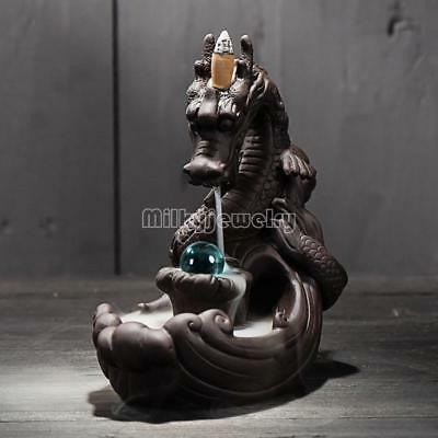 Porcelain Dragon BlueGlass Ball Smoke Tower Backflow Ceramic Cone Incense Burner