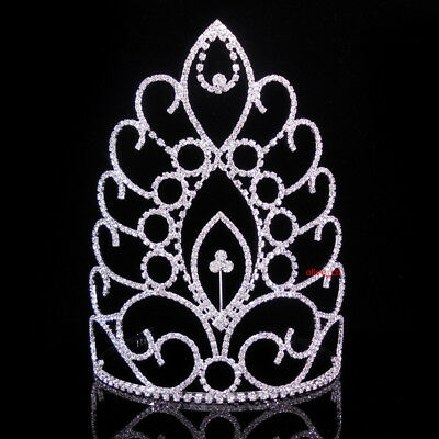 19cm High Large Full Crystal Wedding Bridal Party Pageant Prom Tiara Crown Combs