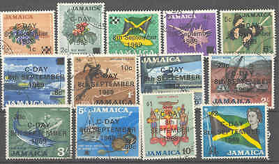Jamaica QEII 1969 decimal currency surcharges set fine used