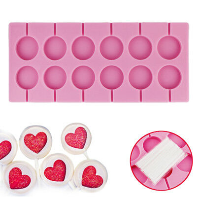 12 Round Shape Silicone Lollipop Mould Tray Candy Chocolate Lollypop Mold Sticks