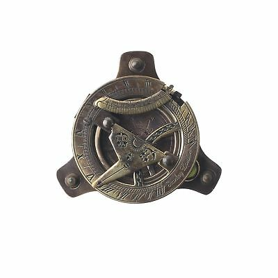 Brass Fit Screw Sundial Compass With Circular Bubble Level