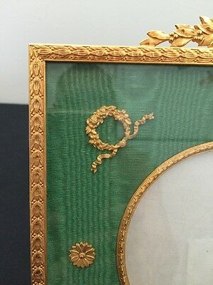Antique French Dore Bronze Picture Frame Whit Fabric