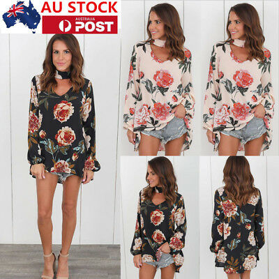 Plus Size Women Floral Tops Choker Neck Chiffon Blouse Long Sleeve T-Shirt Tee