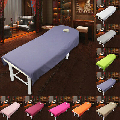 Pop Massage Table Coverlet Fold Fitted Bed Sheet Beauty Salon w/ Hole 80*190cm