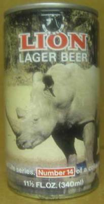 LION LAGER RHINOCEROS South African Wildlife Series #14 cs Beer CAN SOUTH AFRICA