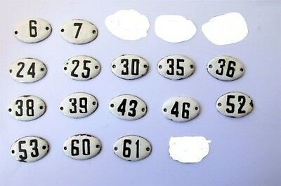 LOT OLD  ENAMEL PORCELAIN TIN SIGN PLATE NUMBERS 15  pieces