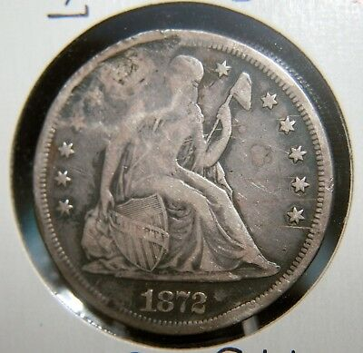 1872 Seated Liberty Dollar $1  **Holed** VF Details  #KQ101