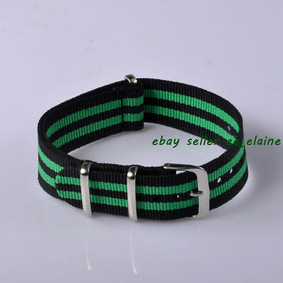 20mm Colorful Nylon Watch Strap, Pulished Buckle Bands for Submarine Watch 2071