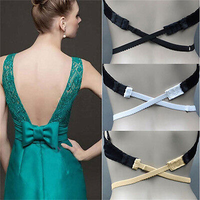 Low Back Backless Bra Strap Adapter Converter Fully Adjustable Extender HookHGUK