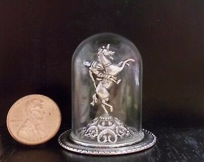 New Elegant Silver Man~On~Horse Statue Glass Dome Mantle Dollhouse Miniature~$40