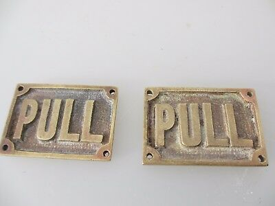 """Victorian Brass Door Plaques Signs """"PULL"""" Antique Edwardian Vintage Old Pair"""