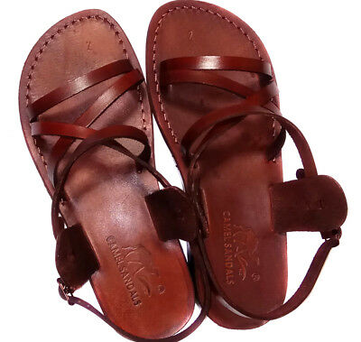 100b9e806e67 Brown Leather Sandals Women Gladiator Strap Biblical Jesus UK 3-8 EU 36-42