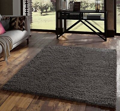 Small - Extra Large Dark Charcoal Grey Thick Pile Plain Modern Soft Shaggy Rug