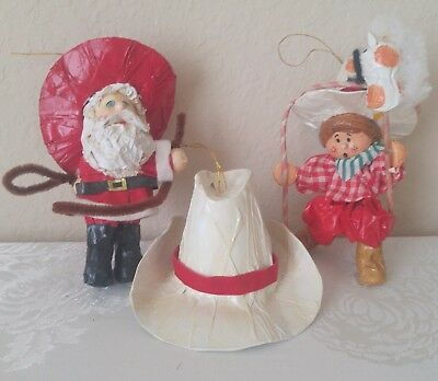 "Lot of 3 Vintage 1970s Christmas COWBOY SANTA HAT Ornaments Paper Mache 2½""-5""H"