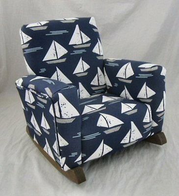 New Children's Upholstered Rocking Chair Cape Cod Indigo Toddle Rock for Kid